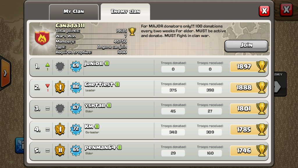 Canada311, 7 wins at Clan Wars