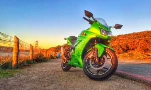 Ninja 250 at Baker Beach